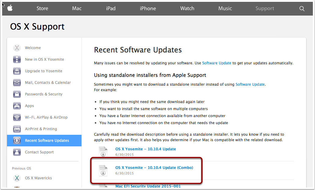Download OS X Combo Update from Apple Support Site instead of